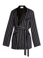 Raey Striped Satin Smoking Jacket Navy