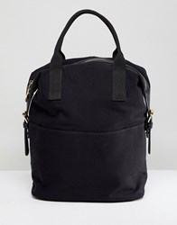 Asos Design Zip Over Canvas Backpack With Double Handle Black