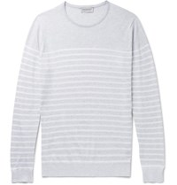 John Smedley Striped Knitted Sea Island Cotton Sweater Light Gray