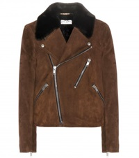 Saint Laurent Suede Biker Jacket Brown