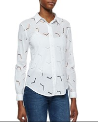 Mih Jeans The Arrow Cutout Cotton Blouse White