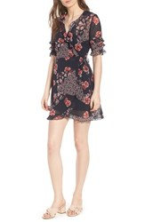 The Fifth Label East Floral Wrap Dress Navy Patchwork