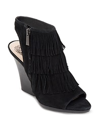 Vince Camuto Sandals Jadon Fringe High Heel Black