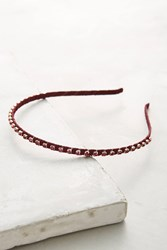 Anthropologie Crystal Studded Headband Red