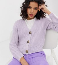 River Island Cardigan With Jewelled Buttons In Lilac Purple