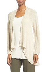 Eileen Fisher Women's Drape Front Wool Cardigan Maple Oat