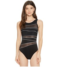 Miraclesuit Spectra Somerset One Piece Black White Women's Swimsuits One Piece