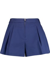 3.1 Phillip Lim Bloomer Pleated Cotton Blend Twill Shorts Blue