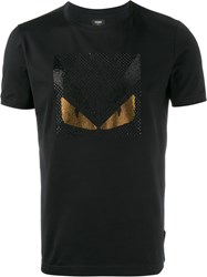 Fendi Bag Bugs Crystal Embellished T Shirt Black