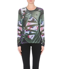 Adidas X Mary Katrantzou Fitted Digital Print Mesh Top Multco