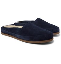 Mulo Shearling Lined Suede Slippers Navy