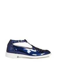 Swear Vienetta 15 Navy Metallic T Bar Flat Shoes Navymetallic