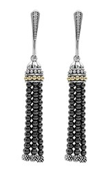 Lagos Women's 'Caviar Icon' Tassel Drop Earrings Hematite Silver Gold