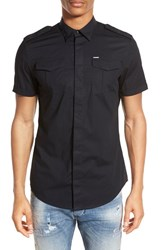 Men's Diesel 'Haul' Extra Trim Fit Short Sleeve Military Shirt Black