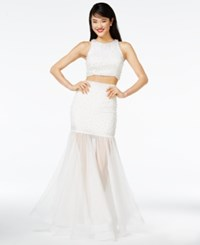 Say Yes To The Prom Juniors' 2 Pc. Embellished Illusion Trumpet Gown A Macy's Exclusive White