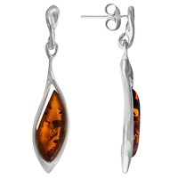Goldmajor Sterling Silver Amber Drop Earrings Brown