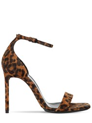 Saint Laurent 105Mm Amber Leopard Print Suede Sandals