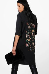 Boohoo Tiah Premium Embroidered Back Woven Shirt Black