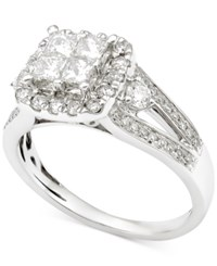 Macy's Diamond Cluster Engagement Ring 1 1 4 Ct. T.W. In 14K White Gold