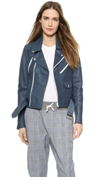 Band Of Outsiders Leather Multi Zip Moto Jacket Classic Navy