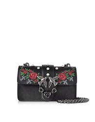 Pinko Mini Love Jeweled Black Embroidery Leather Shoulder Bag W Pearls
