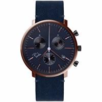 Paulin Watches Chronograph Navy And Rose Gold Blue Rose Gold