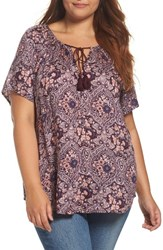 Lucky Brand Plus Size Women's Print Peasant Top Pink Multi