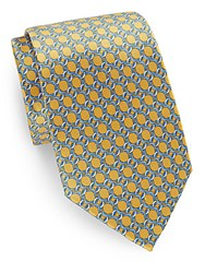 Burma Bibas Link Print Silk Tie And Gift Box Gold
