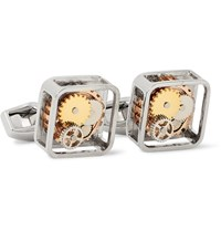 Tateossian Gear Rhodium Plated Cufflinks Silver