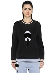 Fendi Karl Fur And Sequins Jersey Sweatshirt