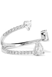 Anita Ko Pear Saturn 18 Karat White Gold Diamond Ring 6