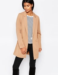 Brave Soul Longline Structured Coat Tan