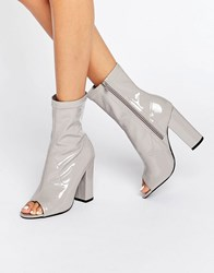 Truffle Collection Peep Toe Boots Grey Patent