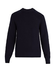 Prada Crew Neck Wool And Cashmere Blend Sweater Navy