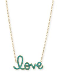 Sydney Evan Xl Turquoise Yellow Love Necklace In 14K Gold