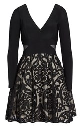 Xscape Evenings Women's Embroidered Jersey Party Dress Black Stone