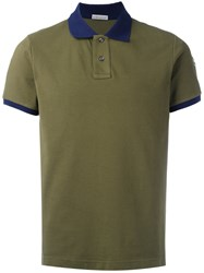 Moncler Contrast Collar Polo Shirt Green