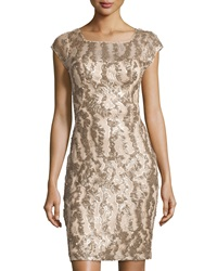 Sue Wong Sequined Cap Sleeve Dress Champagne