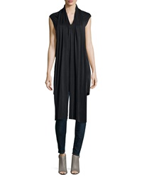 J Brand Ready To Wear Tie Neck Cap Sleeve Tunic Black