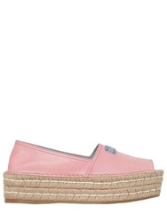 Prada 40Mm Leather Open Toe Espadrilles Pink
