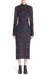 Yigal Azrouel Women's Damask Burnout Velvet Midi Dress