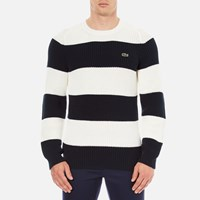 Lacoste Men's Crew Neck Stripe Sweatshirt Navy Blue Flour