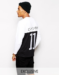 Reclaimed Vintage Long Sleeve T Shirt With Back Embroidery White