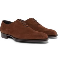 Kingsman George Cleverley Whole Cut Suede Oxford Shoes Dark Brown