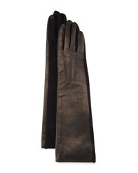 Portolano Long Leather And Cashmere Blend Tech Gloves Black
