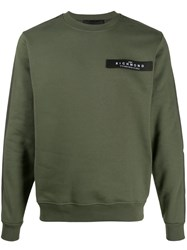 John Richmond Contrast Logo Jumper Green