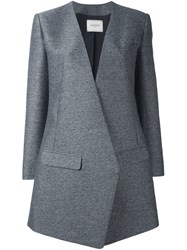 Lanvin Diagonal Cut Blazer Style Coat Grey