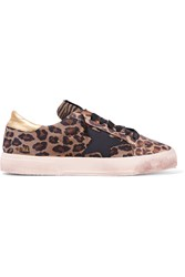 Golden Goose Leopard Print Canvas And Suede Sneakers Animal Print