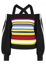 No Ka' Oi Ka'oi Nalu Striped Open Shoulder Sweatshirt Multicoloured