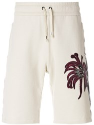 Roberto Cavalli Palms Embroidered Shorts Nude And Neutrals